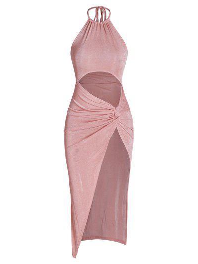 Halter Jersey Cutout Twist Slit Slinky Maxi Dress - Light Pink S