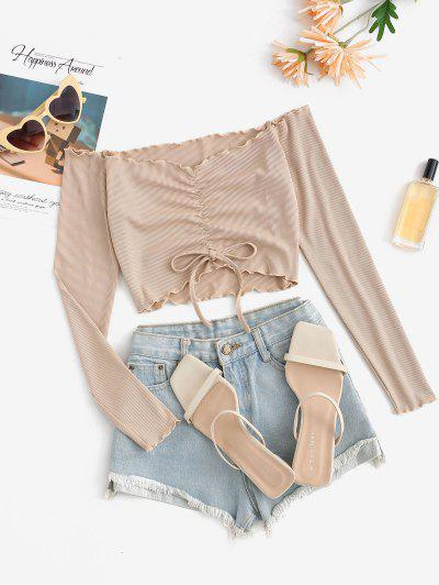 Ribbed Ruched Bowknot Off Shoulder T Shirt - Light Coffee S
