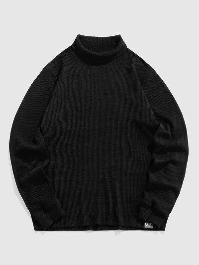 ZAFUL Plain Long Sleeve Turtleneck T-shirt - Black S