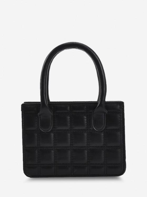 PU Square Print Beads Strap Tote Bag - أسود