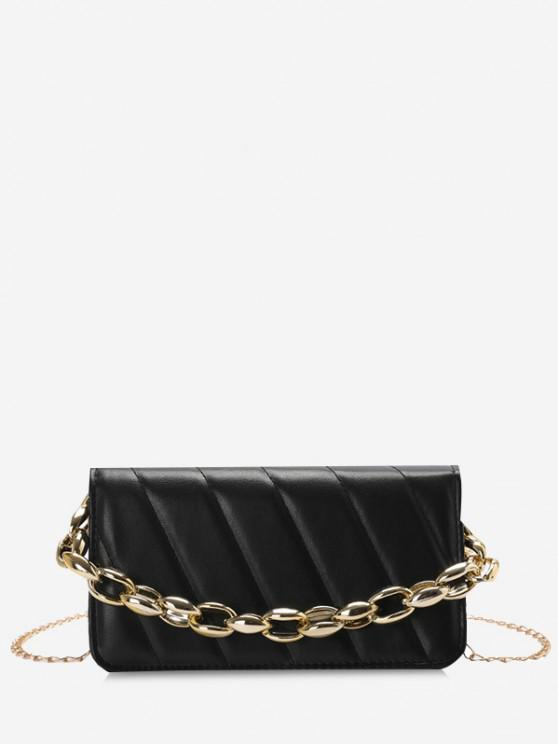 Quilted Chains Rectangle Shoulder Bag - أسود