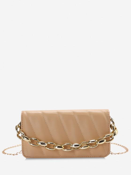 best Quilted Chains Rectangle Shoulder Bag - LIGHT KHAKI