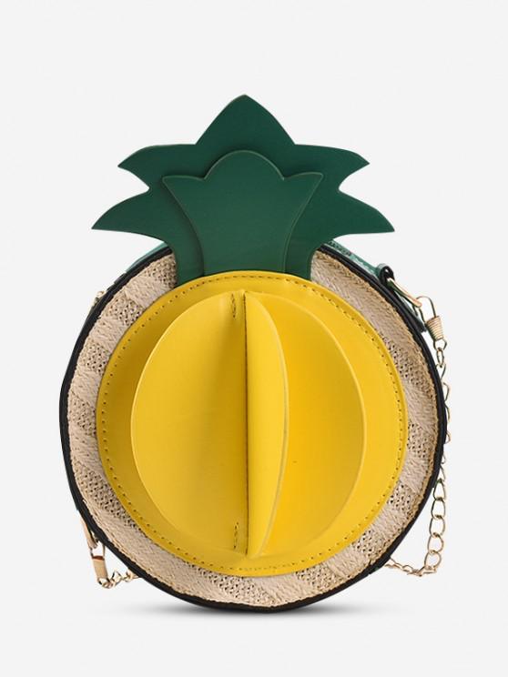 Pineapple Chain Crossbody Canteen Bag - أخضر