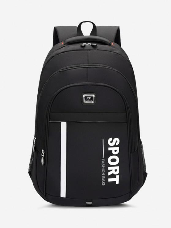 trendy Sport Letter Print Laptop Backpack - BLACK