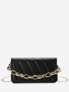 Quilted Chains Rectangle Shoulder Bag - Black