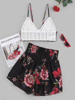 Conjunto De Dos Piezas Con Nudo Top Y Cami Smocked De Flores - Negro M
