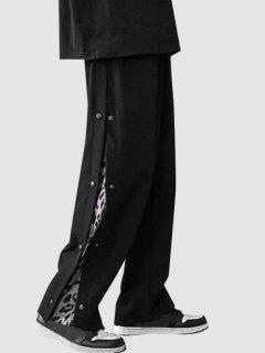 Leopard Print Snap Buttons Casual Pants - Black M