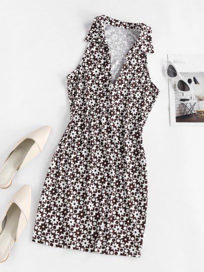 ZAFUL Polka Dot Flower Bodycon Tank Dress - Deep Coffee S