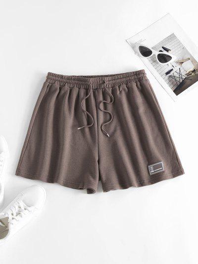 ZAFUL Drawstring Pull On Sweat Shorts - Deep Coffee S