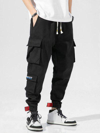Letter Embroidered Cargo Jogger Pants - Black Xl