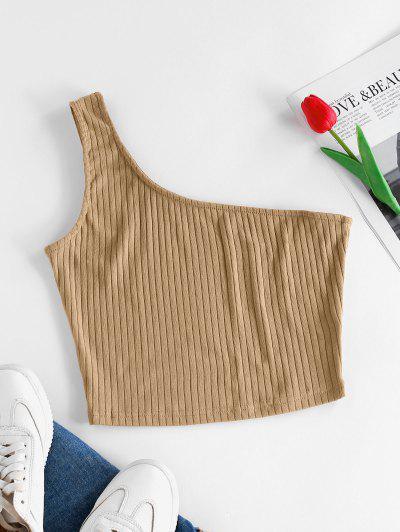 ZAFUL Rib Knit One Shoulder Crop Tank Top - Light Coffee M