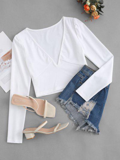 Camiseta Corta Escotada Manga Larga - Blanco Xl