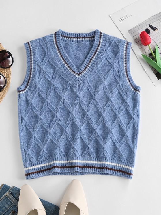 ZAFUL Streifen Rhombus Knit Weste - Blau S