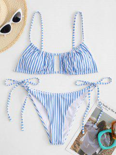 ZAFUL Striped Cut Out Tie Side Bikini Swimwear - Light Blue L