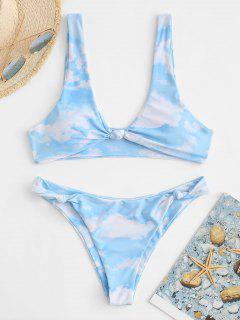 ZAFUL Sky Cloud Print Knotted Padded Bikini Set - Light Blue L