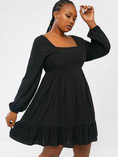 ZAFUL Plus Size Ruffle Puff Sleeve Smock Dress - Black L