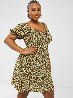 ZAFUL Plus Size Ditsy Floral Puff Sleeve Shirred Back Nap Dress - Black 5xl