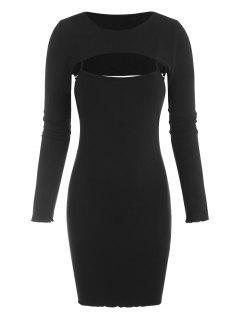 ZAFUL Bodycon Geripptes Mini Kleid Mit Bunter Yakdruck - Schwarz S