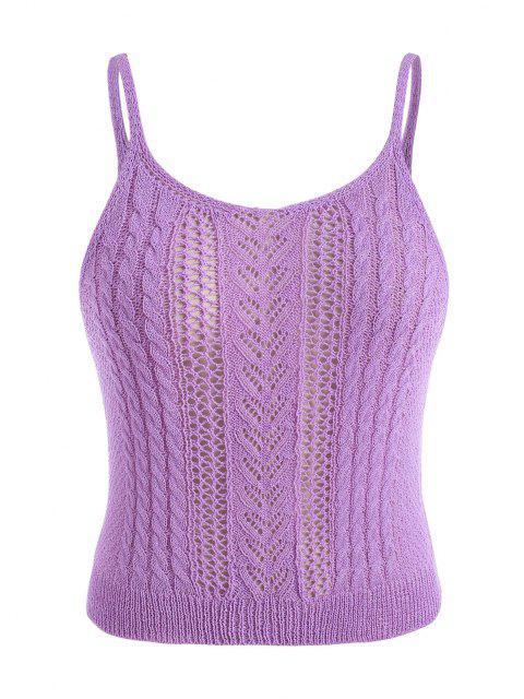ladies ZAFUL Plus Size Pointelle Cable Knit Cami Top - LIGHT PURPLE 3XL Mobile