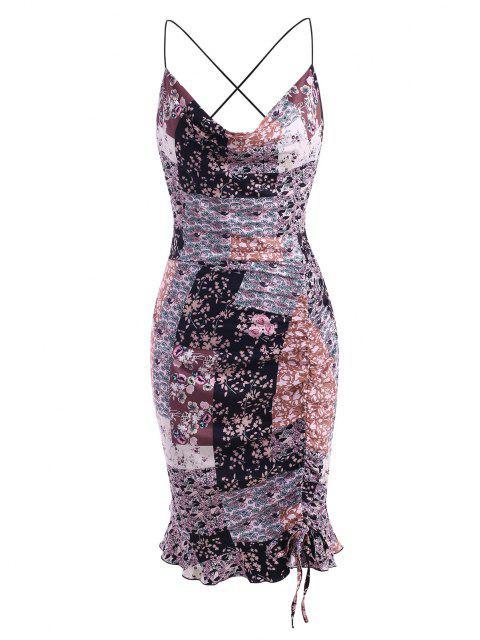 ZAFUL Vestido Talla Extra con Cuello Redondo con Estampado Floral de Patchwork Acanalado - Multicolor 2XL Mobile