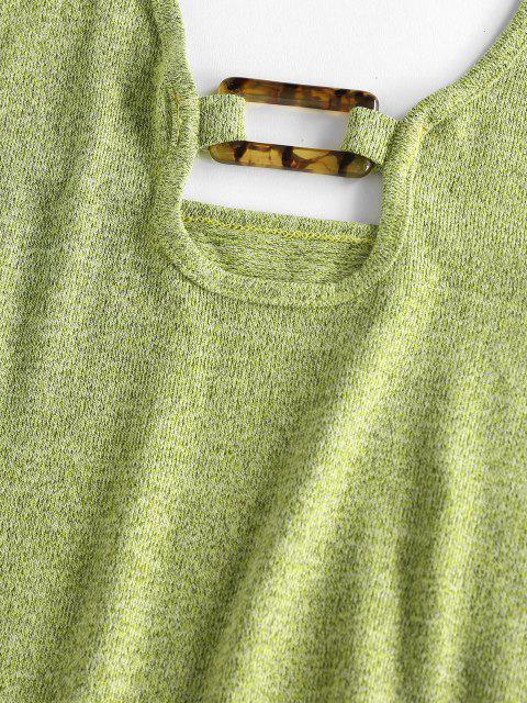 ZAFUL Neckholder Jersey Rückenfreies Quadrat Ring Kleid - Hellgrün S Mobile