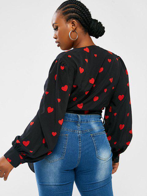 ZAFUL Camisa Cruzada Estampado Corazón Tamaño Plus - Negro 2XL Mobile