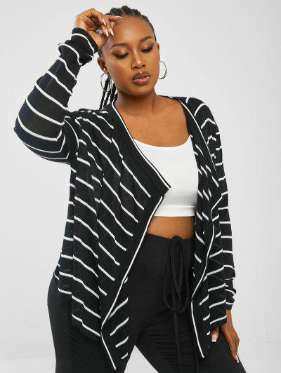 ZAFUL Plus Size Striped Draped Open Front Cardigan - Black 3xl