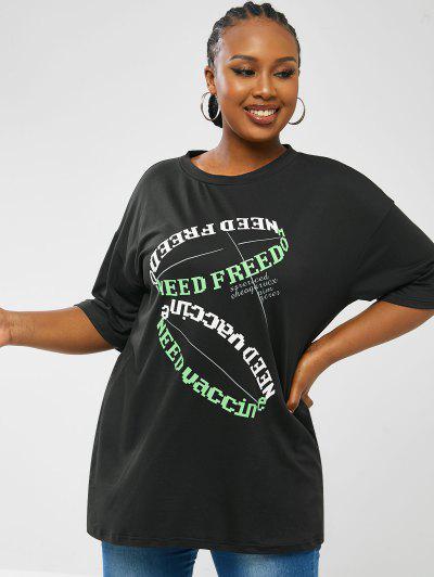 Camiseta Talla Extra Estampado Letras - Negro 5xl