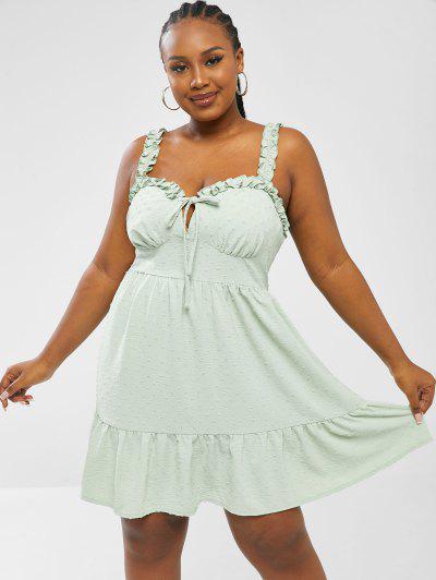 ZAFUL Plus Size Swiss Dot Frilled Bustier Dress - Light Green 2xl