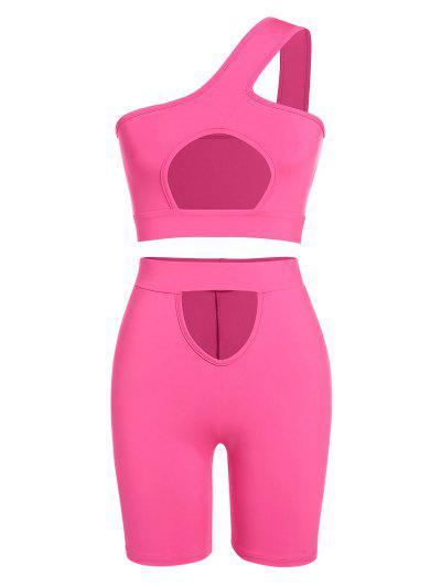 ZAFUL One Shoulder Cutout Cycling Shorts Set - Light Pink S