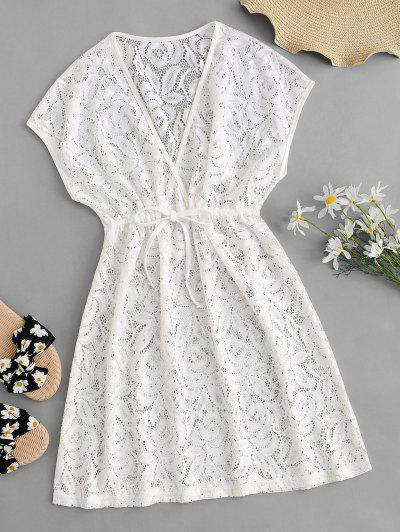 Lace Surplice Drawstring Sheer Cover Up Dress - White