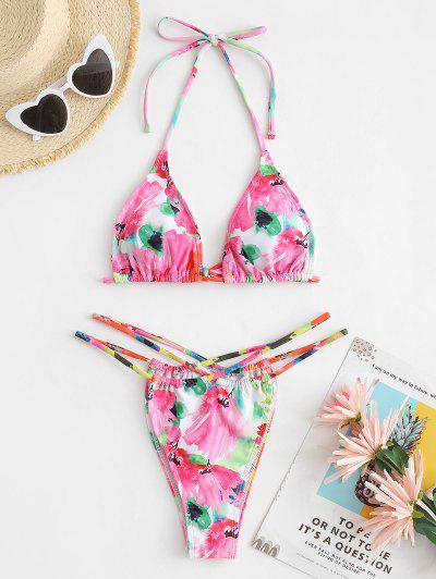 ZAFUL Aquarell Blumen Schnur Bikini Badebekleidung Mit Ausschnitt - Hell-pink L