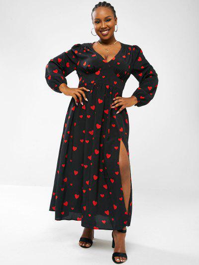 ZAFUL Heart Empire Waist Lantern Sleeve Plus Size Maxi Dress - Black 5xl