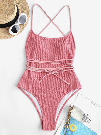 ZAFUL Textured Lace-up Wrap One-piece Swimwear - Light Pink Xl