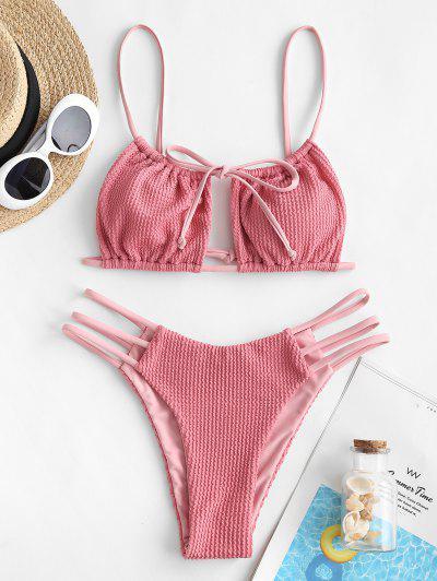 ZAFUL Strappy Textured Padded Bikini Set - Light Pink L
