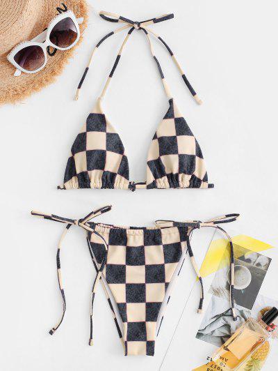 ZAFUL Plaid Checkerboard String Tied Bikini Swimwear - Black L