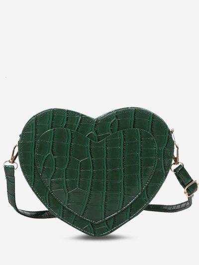 Bolso Cruzado Bolsillo Canguro En Forma De Corazón - Bosque Verde Mediana