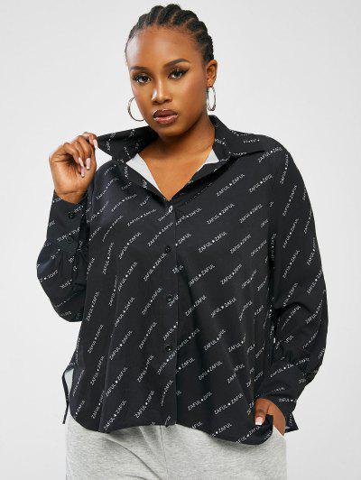 ZAFUL Chemise à Imprimé Logo De Grande Taille Avec Double Boutons - Noir 5xl