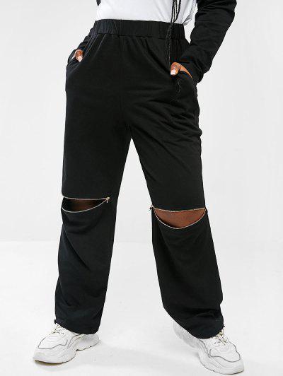 Pantalon Aux Genoux Avec Fermeture Éclair Et à Jambes Larges De Grande Taille - Noir 5xl