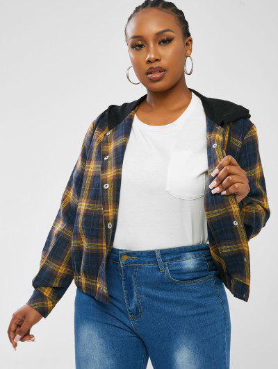 ZAFUL Plus Size Plaid Flannel Snap Button Chest Pocket Jacket - Multi L