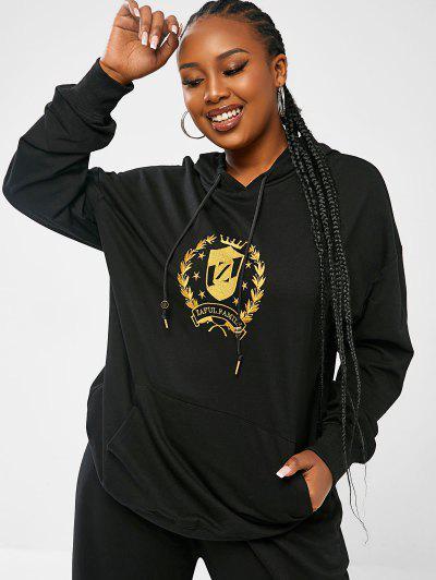 ZAFUL Sweat-Shirt à Capuche Avec Logo Brodé Et Poche Kangourou Grande-Taille - Noir Xl