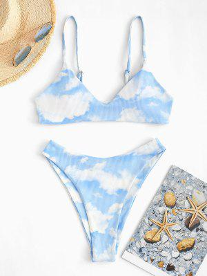 zaful ZAFUL Sky Clouds Print Ribbed Padded Bikini Set