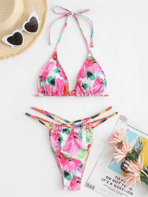 zaful ZAFUL Watercolor Flower String Cutout Bikini Swimwear