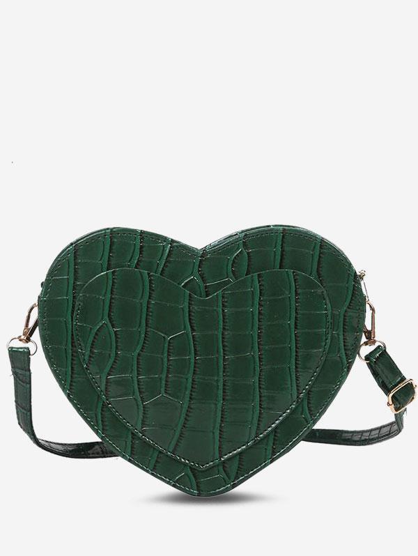 Heart-Shape Embossed Slit Pocket Crossbody Bag