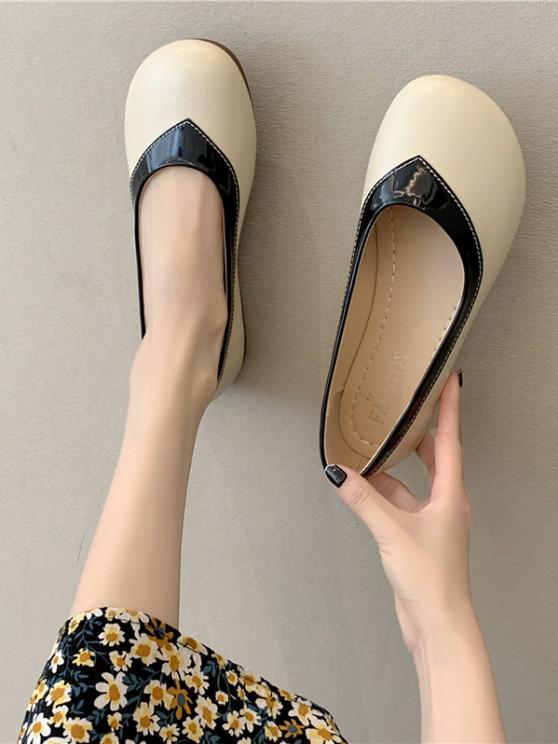 Runde Zehe Gespleißte Flache Schuhe - Schwarz EU 37