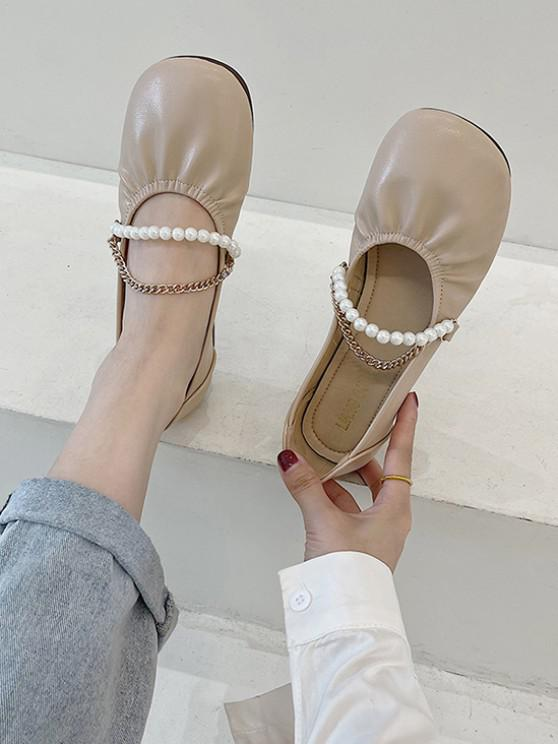 Runde Zehe Künstliche Perle Kette Flache Schuhe - Helles Khaki EU 37