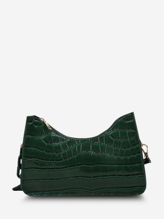 Einfarbige Halbe Kette Gurt Geprägte Umhängetasche - Kleeblatt Grün