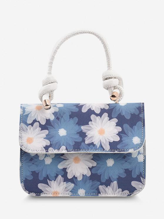 Mini Top Handle Kette mit Blumendruck - Meerblau