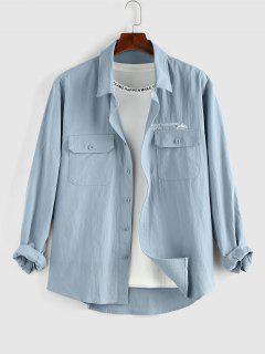 ZAFUL Camisa Con Bolsillo De Gráfico De Letras - Azul Claro L