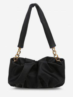 Half Chunky Chain Strap Ruched Shoulder Bag - Black